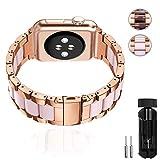 ANITA - Correa de Repuesto para Apple Watch de 38 mm y 40 mm de Acero Inoxidable y Resina, Serie 4, 3, 2, 1, edición Deportiva, Oro Rosa y Rosa