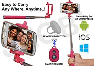 Selfie Stick Monopod With Bluetooth Remote Wireless Shutter Connectivity Compatible For Vivo Y51 -Pink