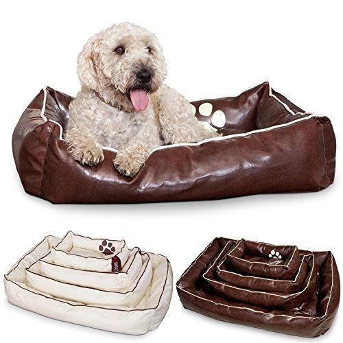 Smoothy Hundekorb aus Leder; Hunde-Körbchen; Hundebett für Luxus Vierbeiner; Braun Größe M (83x57cm)