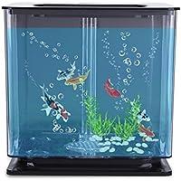 Acogedor Künstliche Mini-Aquarium Schwimmen Fisch Tank mit Bubbles, Automatische Filter System (Blau/Pink/weiß/Schwarz/grün) Schwarz
