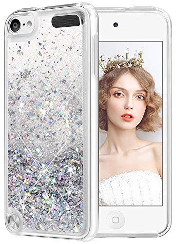 wlooo Coque pour iPod Touch 5/6/7, iPod Touch 5 Silicone Coque, iPod Touch 6 Glitter Liquide Paillette Protection TPU Bumper Housse Étincelle Pente Antichoc Souple Brillante Étui (Argent)