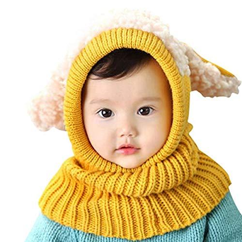 AUVSTAR Baby Mädchen Jungen Kleinkind Winter Hut Schal Set Cutest Earflap Kapuze Warm Knit Hut Schals mit Ohren Schnee Halswärmer Schädel Kappe Kinder 6-36 Monate Knit Hat Earflap