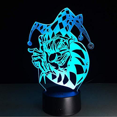 LED 7 Farbwechsel 3D Clown Joker Nachtlicht Acryl Bunte Gradienten Atmosphäre Illusion Lampe Familie Urlaub Halloween Geschenk