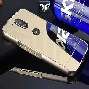 TheGiftKart™ ULTRA Premium Luxury Metal Bumper Acrylic Mirror Back Cover (Golden) for Motorola Moto G PLUS 4th Gen ( Not Compatible With Motorola Moto G 4th Gen)