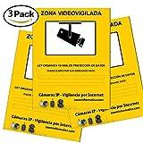 Pack 3 carteles A4 rigido zona vigilada videovigilada camara camaras informativo LOPD