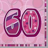 Unique Party - Paquete de 16 servilletas de papel de 60 cumpleaños, color rosa brillante (28443)