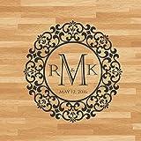 Personalizza Nome Data Paese Matrimonio Monogram Fiore Cuore Dance Floor Sticker Party Adesivo Reception Vinile 171 * 171cm