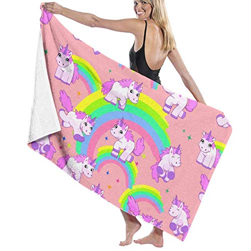 fgregtrg Beach Towels Decor Polyester Fiber Cute Colorful Rainbow Unicorn Bath Towels Oversized Soft, High Absorbent, Eco-Friendly Printed Bath Towel,Quick Dry 31.5\