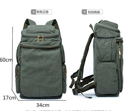 Grande capacità di escursione esterne dello Zaino dello zaino di viaggio sacchetto di campeggio arrampicata sportiva uomini borsa zaino di tela (50L) (Brown) Green