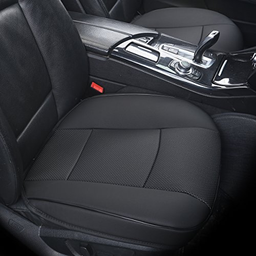EDEALYN Super-Luxus pu leather Autositzbezug Auto car Sitzkissen Autositz Schutzabdeckung ,Vordersitzabdeckung 1pcs (schwarz)