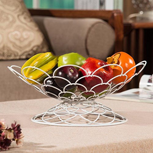 WENZHE Fruit Rack Corbeille À Fruits Plateau Fruits Séchés Bleu Forme De Phosphonium Fer, 3 Couleurs, 32 * 16cm Panier à Fruits (Couleur : Blanc)