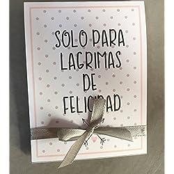 Lágrimas de Felicidad para Bodas con pañuelo lunares gris. Personalizable. 50 unidades.