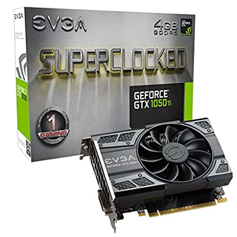 EVGA (04G-P4-6253-KR) NVIDIA GeForce GTX 1050 Ti SC (Single Fan) Gaming, 4GB GDDR5, DX12 OSD Support (PXOC) Graphics