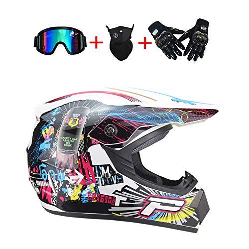 SICILY Motorradhelm, Outdoor-Jugend-Kinder-Dirt-Fahrradhelme, Full Face Motocross-Offroad-Helm(Handschuhe, Brille, Maske, 4-Teiliges Set) 4PCS Straßenrennen, DOT-Zertifizierung,L