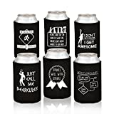 Funny Beer Can Coolers - 6 Pack Party Favor Drink Coolies - Gag Gifts for Men, Bachelor/ Stag Parties - Novelty Beverage Insulators with Clever Jokes and Sayings