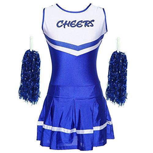 Cheerleader Kostuem Uniform Cheerleading mit Pompoms für Karneval Fasching (Cheerleading Kostüme Kinder)