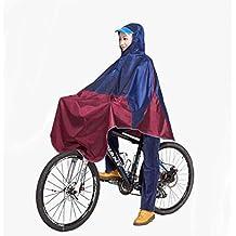 Para bicicleta Chubasquero Poncho de lluvia con capucha resistente al viento para hombre perchero de pared de lluvia cubierta de Scooter para personas con movilidad reducida, Azul/Rojo
