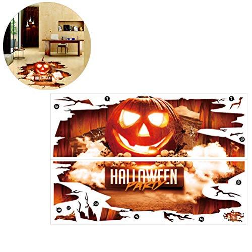 Sarplle Halloween Deko Wandaufkleber 3D Kürbis Horror Sticke PVC Aufkleber Fensteraufkleber für Schlafzimmer, Büro, Lobby