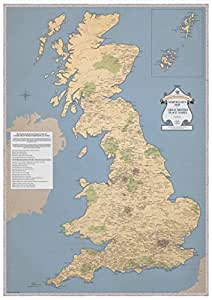 Rude Map of Britain - ST&G's Marvellous Map - Vintage Style - Genuine Funny & Slightly Rude Place Names - GB UK Britain England - A2 (594 x 420mm)