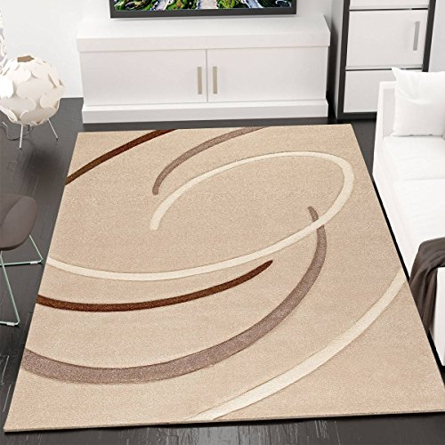 VIMODA infinity6296mderner–Alfombra, peonzas, handgeschnittene contornos, tejido ecológico certificado, Cuidado fácil, beige, 120 x 170 cm