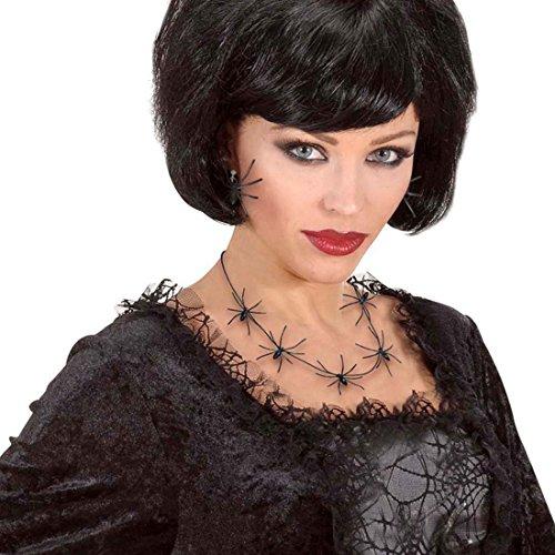 NET TOYS Spinnen Halskette Hexen Kette 60 cm Gothic Schmuck Spinnenkette Halsschmuck Schwarze Witwe Necklace Halloween Kostüm Accessoire (Spinne Schwarze Witwe Kostüm)