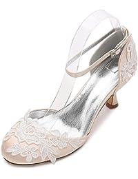L@YC Zapatos de Boda de Las Mujeres D17061-7 Dama de Honor Ramillete de Flores de Tacón Bajo Hebilla de Satén Close Toes