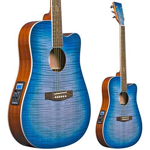 Lindo BTC Bitcoin Elektroakustische Gitarre mit schlankem Korpus, F-4T-Vorverstärker/-Tuner/-EQ und Instrumententasche