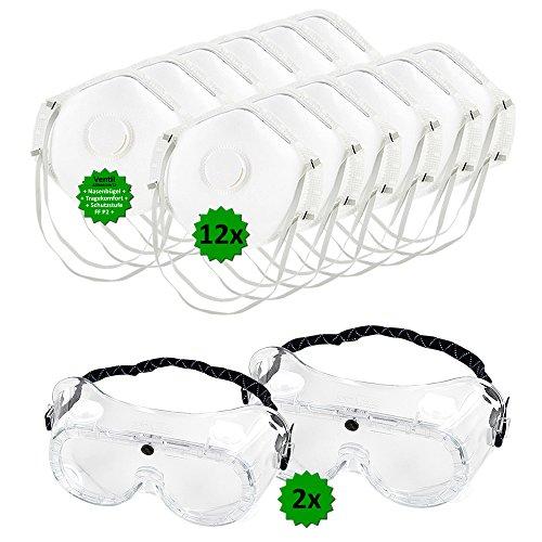 Schutz-Set bestehend aus 2 Stück Vollsichtbrillen (auch geeignet für Brillenträger) + 12 Stück P2 Atemschutz-Masken - Mundschutz gegen Sprühnebel, Staub, Feinstaub. Persönliche Schutzausrüstung zum Ausbringen von Pflanzenschutzmitteln, beim Renovieren, uvm. ()