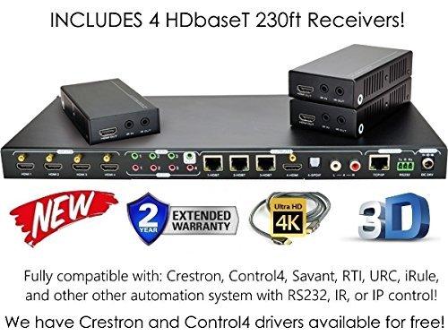 4x 4HDBaseT 4K Matrix Switcher mit 3Empfängern (CAT5e oder Cat6) HDMI HDCP2.2HDTV Routing SPDIF Audio Crestron ST control4Savant Home Automation (4x 4HDBaseT Matrix mit 1HDMI-Ausgang) Av Matrix Switcher