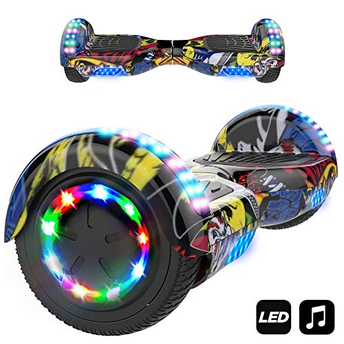 MARKBOARD Hover Scooter Board, Elektro Scooter 6,5 LED E-Balance E-Skateboard Elektroroller - Bluetooth - LED Licht - EU Sicherheitsstandard (LED HIP)