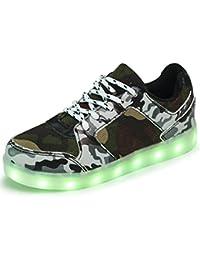AFFINEST Niños LED Zapatos Tendencia Camuflaje Glow Luminosos Light Up Flashing Casual Sneakers con la Carga del USB