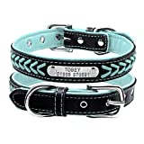 Berry Adjustable Leather Padded Custom Pet Dog Collars with Engraved Nameplate,Fit Cats and Small Medium Dogs