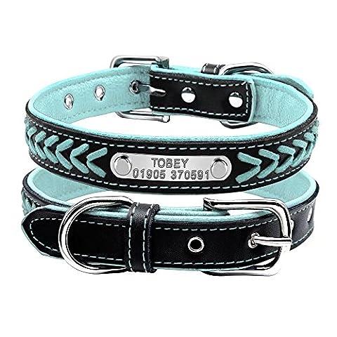 Berry Collier de chien réglable rembourré en cuir personnalisé avec plaque de gravure, pour chats et petits chiens de taille moyenne