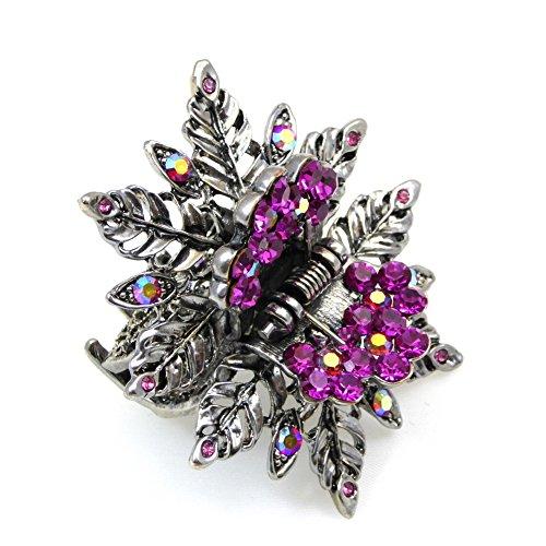 rougecaramel - Accessoires cheveux - Pince crabe cheveux forme fleur métal et strass - fuchsia