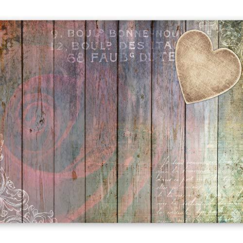 selbstklebend 49x35 cm decor Tapeten Wandtapete klebend Klebefolie Dekofolie Tapetenfolie - Bretter Holz Rose Herz f-A-0341-a-b ()