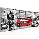 Runa Art Bilder London Bus Wandbild Vlies - Leinwand Bild XXL Format Wandbilder Wohnzimmer Wohnung Deko Kunstdrucke 90 x 30 cm Rot 3 Teilig - Made in Germany - Fertig Zum Aufhängen 604734a