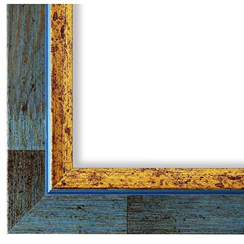 Online Galerie Bingold Bilderrahmen Blau Gold 30x40-30 x 40 cm - Modern, Shabby, Vintage - Alle Größen - Handgefertigt in Deutschland - LR - Catanzaro 3,9