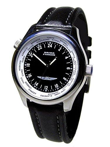 union-flieger-1268-sociedade-de-relojoaria-independente-reloj-correa-de-cuero-color-negro