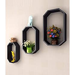 Onlineshoppee Fancy 3 Pcs Octagon Shaped Wooden Wall Shelf