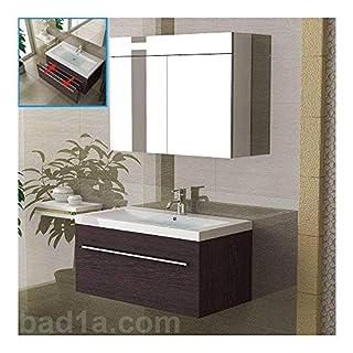 Alpenberger Mineral Cast Basin Cabinet Vanity Unit 90 Wenge Bathroom Furniture Set with Mirror Cabinet
