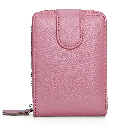 Führerschein aus Leder Ledertasche Kartenetui aus Leder Zipper Wallet Multifunktions-Führerschein (Color : Pink, Size : S)
