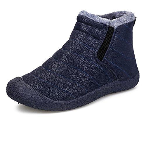 Damen Schneestiefel, Gracosy Mädchen Winterstiefel Flach Stiefeletten Warm Gefütterte Schuhe Winter Bootsschuhe Kurzschaft Stiefel mit Inner Flaum Blau 42