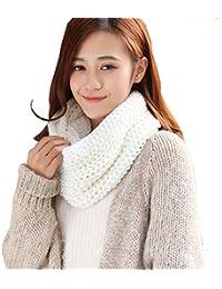 da9730bf2d2b Femme Écharpe Tube Tricot à Crochet Tour de Cou Chaud Classique Écharpe  Cercle Joli Châle Tubulaire