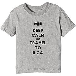 Keep Calm And Travel To Riga Kinder Unisex Jungen Mädchen T-Shirt Rundhals Grau Kurzarm Größe XL Kids Boys Girls Grey X-Large Size XL