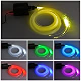 Dewel - Luce a fibra ottica Milkee, LED da 16 W RGBW 0,75 mm x 2 m per realizzare un cielo stellato con illuminazione a fibra ottica + telecomando RF 28 Key (450 PCS)