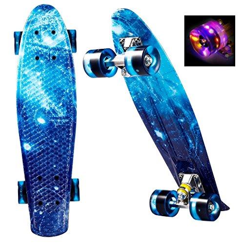 c5f4b0a71db3ce Joyda Skateboards Original Vintage Retro Skateboard für Kinder und  Erwachsene mit LED Leuchtrollen