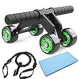 AB Roller Abdominal Trainer, JuguHoovi Abdominal Roller Ab-Wheel Abdominal Trainer, Ensemble de fitness moto 4 roues pour Convient aux familles, hommes et femmes