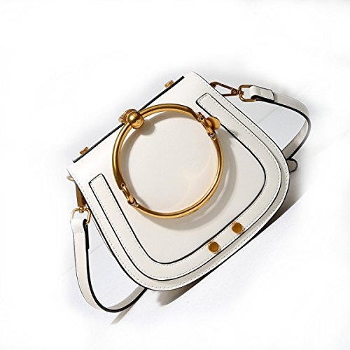Damen Handtaschen Mädchen Umhängetasche Messenger Bag Ring Sattel Querschnitt Trend Mode Freizeit Outdoor White