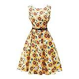 Blumen Partykleider, Lylafairy Damen A-Linie 50er Vintage Abendkleid Rockabilly Kleid Knielang Festliches Pin Up Kleid Partykleider Cocktailkleider (36, 10)