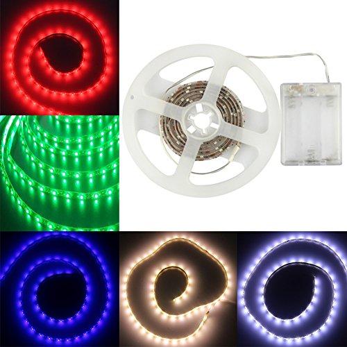 GOESWELL Blau LED Strip Streifen 3528SMD 60leds LED Licht Band Leiste Wasserdicht IP65 Batteriebetrieben 100CM (Blau)